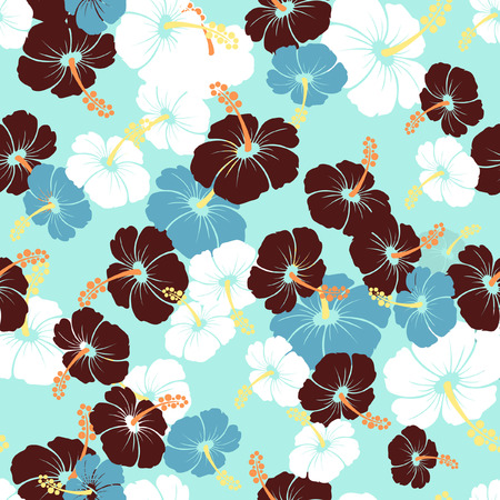 monstera leaf: Hawaiian Seamless  Pattern with hibiscus flowers and Monstera leaves