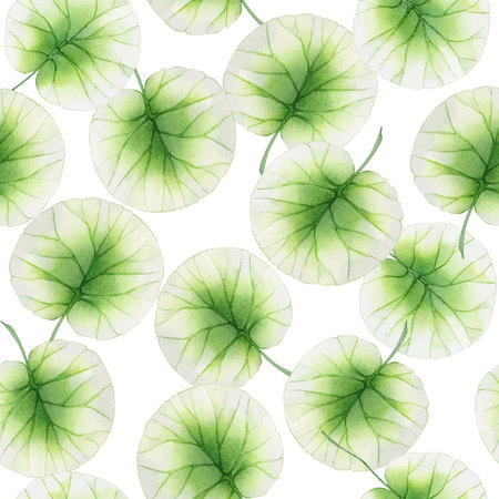 Watercolor Seamless floral pattern with lotus leaves