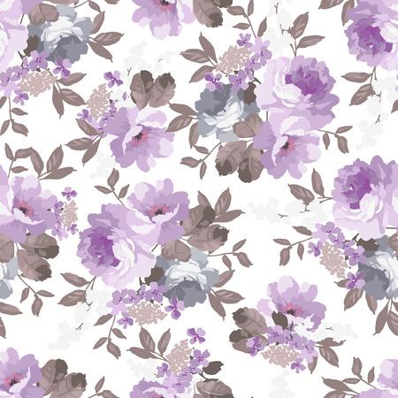장미와 함께 아름 다운 원활한 빈티지 플로랄 패턴 일러스트