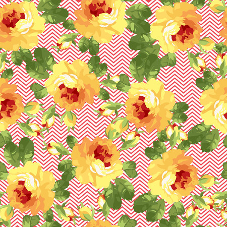 patter: Seamless floral patter with yellow roses and chevron. Illustration