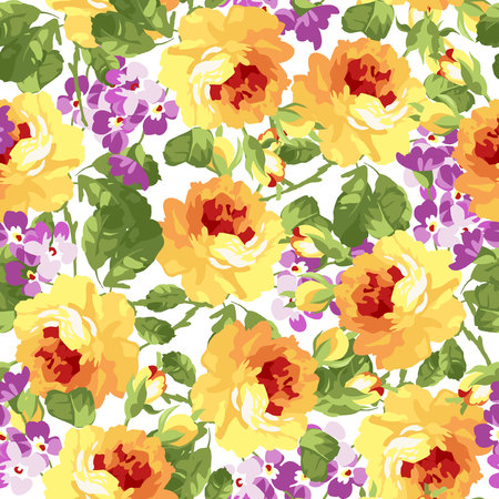 yellow roses: Seamless floral patter with yellow roses.
