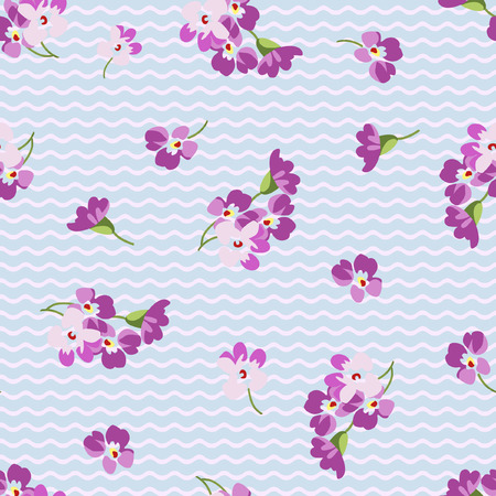 patter: Seamless floral patter with little pink flowers  and chevron