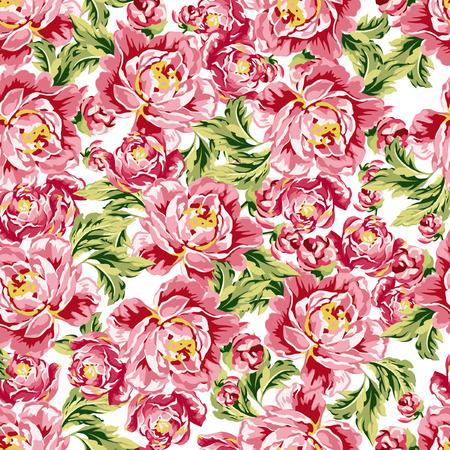ramo de flores: Modelo floral inconsútil con peonías
