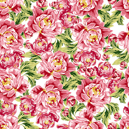 rose petals: Seamless floral pattern with peonies