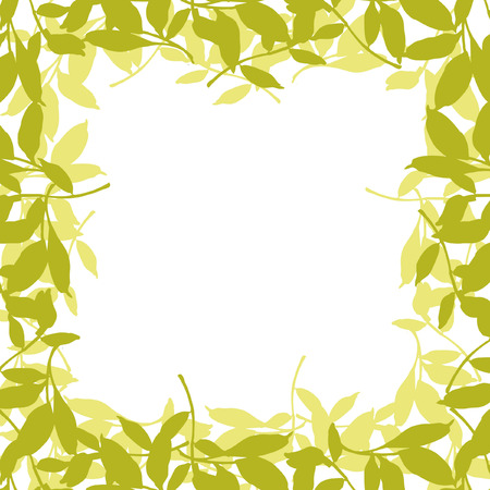 grass weave: Floral frame with leaves