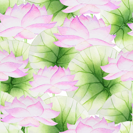 Watercolor Seamless floral pattern with lotus and lotus leaves