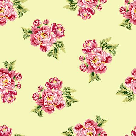 모란과 완벽 한 꽃 패턴 일러스트