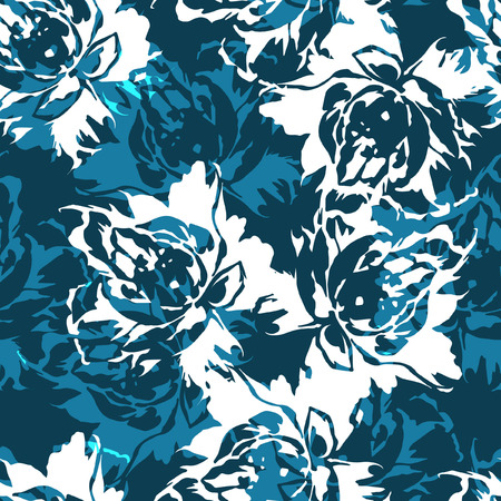 rose petals: Seamless floral pattern with roses on a blue background Illustration