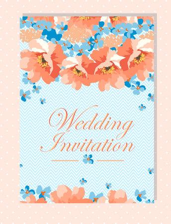 chevron background: Floral wedding invitation with blue and coral flowers on chevron background