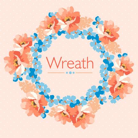 pastel colors: Cute Floral wreath in pastel colors floral