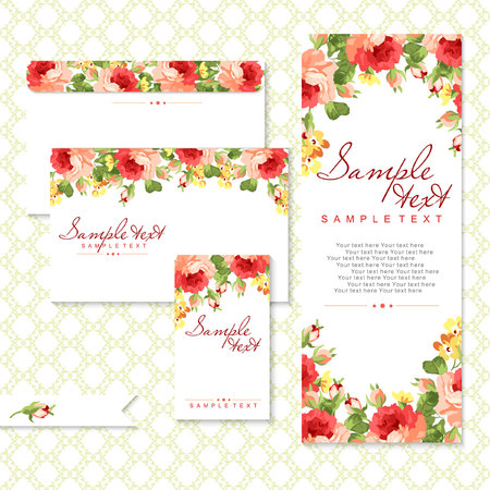 pink wedding: Vector card with red roses and chevron Illustration