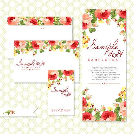 Vector kaart met rode rozen en chevron Stock Illustratie
