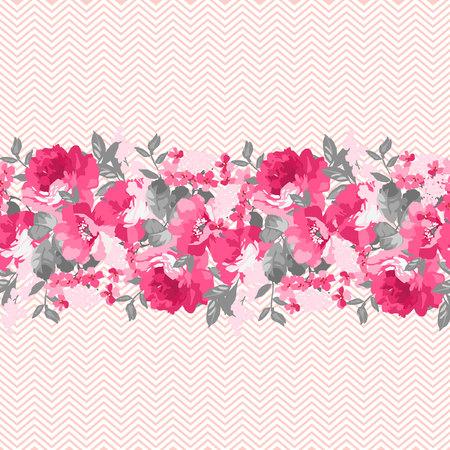 borde de flores: Modelo floral inconsútil con las rosas rosadas y Chevron