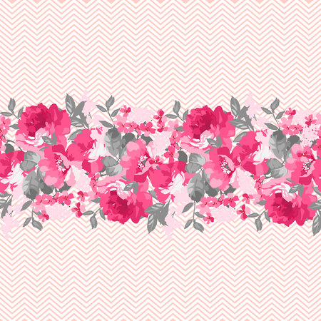 flower border: Seamless floral pattern with pink roses and chevron