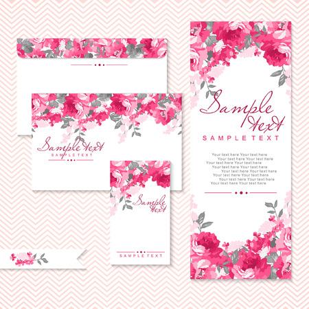 bouquet fleur: Carte vectorielle avec des roses roses et Chevron Illustration