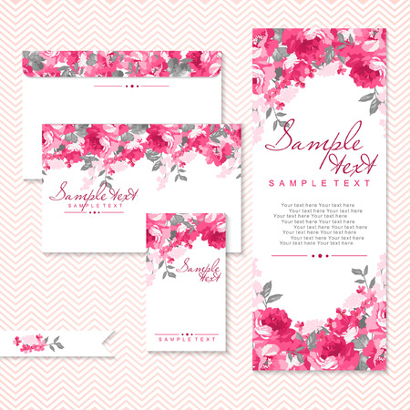 Vector card with pink roses and chevron