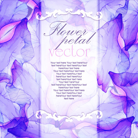 vectorized: Watercolor card with Purple flower petal. Vectorized watercolor drawing.