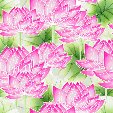 background flower: Watercolor Seamless floral pattern with lotus and lotus leaves