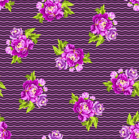 seamless floral pattern: Seamless floral pattern with peonies