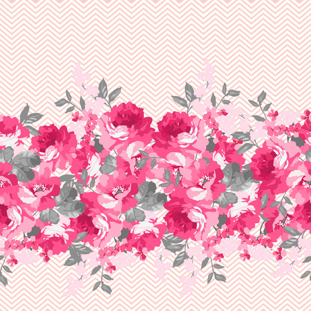 pink flower background: Seamless floral pattern with pink roses and chevron