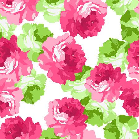 Nahtlose Blumen prasseln mit rosa und hellgrün Rosen.