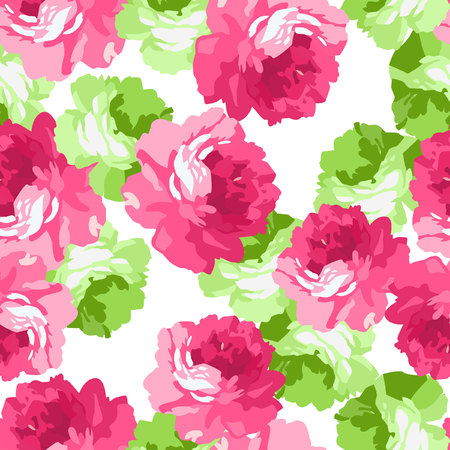 pink rose: Seamless floral patter with pink and light green roses. Illustration