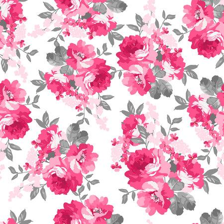 핑크 장미와 원활한 패턴 일러스트