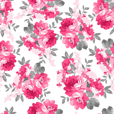 flower petal: Seamless pattern with pink roses Illustration