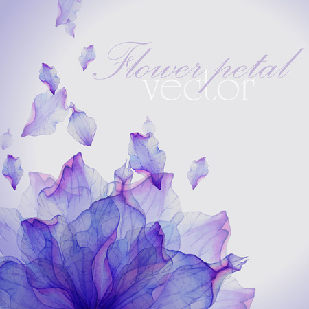 flowers on white: Watercolor card with Purple flower petal. Vectorized watercolor drawing.