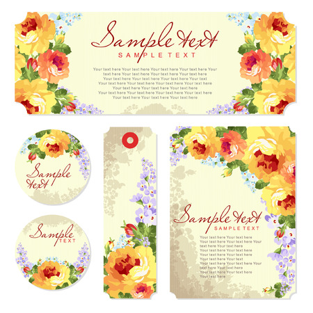 yellow roses: Vector card with yellow roses and chevron