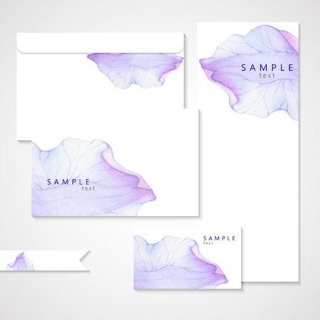 보라색 꽃 꽃잎에 수채화 카드. 벡터화 수채화 그리기.