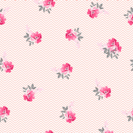 rosebuds: Seamless pattern with pink roses and chevron