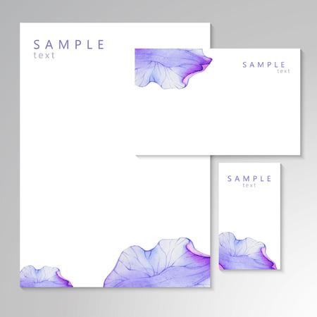 purple flower: Watercolor card with Purple flower petal. Vectorized watercolor drawing.