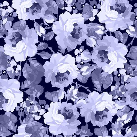 Seamless floral patter with roses on a dark blue background Ilustração