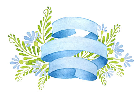 blue ribbon: Ribbons with cornflowers and leaves. Illustration