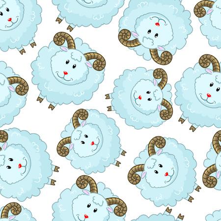 baby lamb: Seamless pattern with  cartoon sheep
