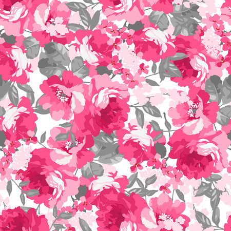 Seamless pattern with pink roses Illustration