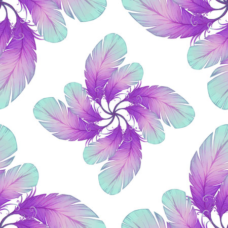Watercolor seamless pattern with bird feathers. Illustration