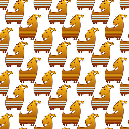 brown goat: Seamless pattern with brown goat