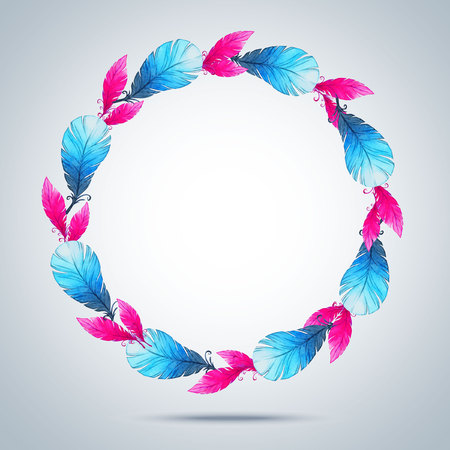 abstract backgrounds: Watercolor wreath of feathers. Illustration