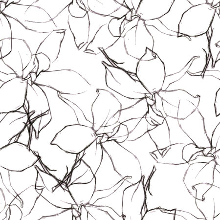Seamless pattern with Pencil flowers sketch