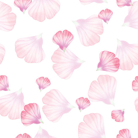petals: Watercolor Seamless pattern with Pinc flower petal