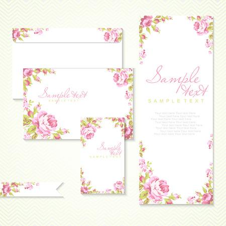 свадьба: Векторные карты с розовыми розами и шеврон