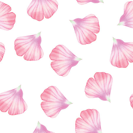 the petal: Watercolor Seamless pattern with Pinc flower petal