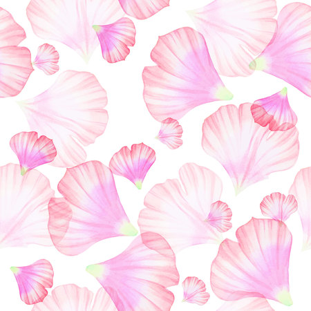 petal: Watercolor Seamless pattern with Pinc flower petal