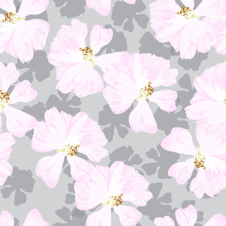 Seamless Pattern with pastel pink roses on the grey background Ilustração