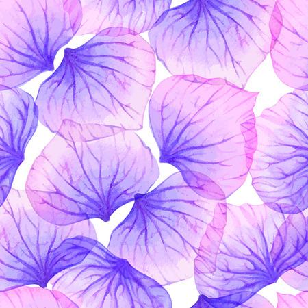 Watercolor Seamless pattern with Purple flower petal. Çizim