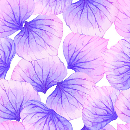 petal: Watercolor Seamless pattern with Purple flower petal. Illustration