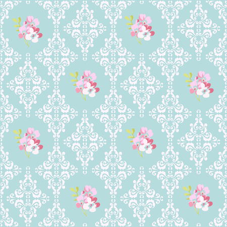 Seamless Pattern with pink flowers and damask elements