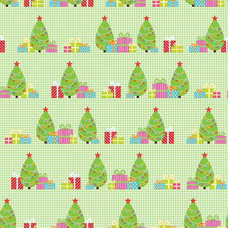 christmas candy: Seamless pattern with Christmas tree and Christmas Gifts Illustration